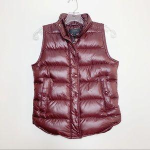 J. Crew Shiny Down Puffer Vest Maroon Size XXS